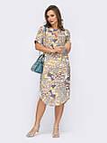 Летнее прямое платье с коротким рукавом и закругленным низом, фото 2