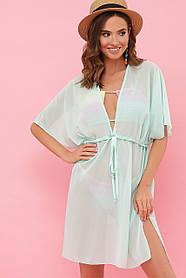 Прозрачная туника платье мятного цвета для пляжа на лето 2021