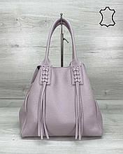 Кожаная женская сумка шоппер «Akua» фиолетовая