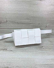Женская сумка клатч на пояс «Энди» плетеная белая