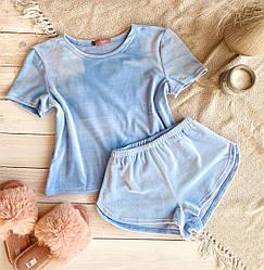 Комплект футболка + шорты из велюра на хлопковой основе