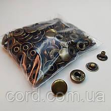 Кнопка 15 мм металлическая (Альфа). Упаковка(50 шт.) антик( латунь)
