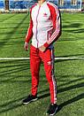 Спортивный костюм в стиле Adidas Оригинал кофта штаны красный, фото 3