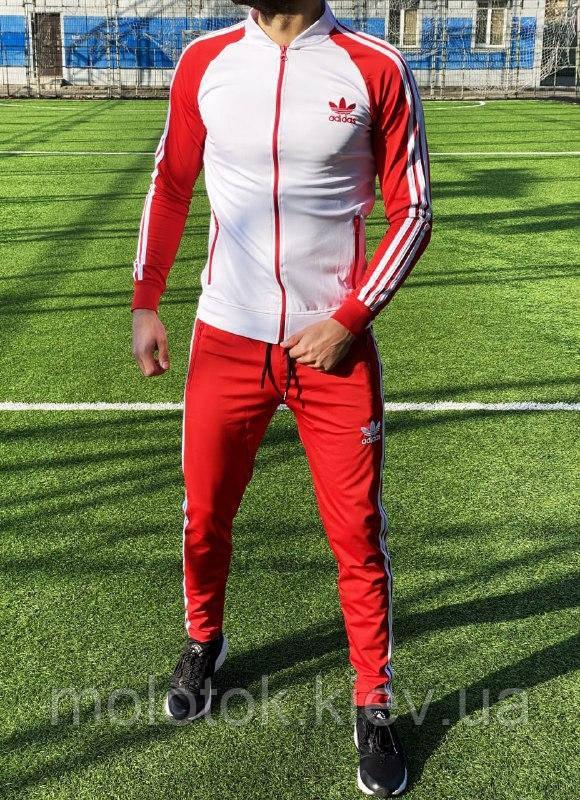 Спортивний костюм в стилі Adidas Оригінал кофта штани червоний