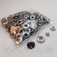 Кнопка 15 мм металлическая (Альфа). Упаковка(50 шт.). никель ( серебро).