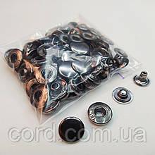 Кнопка 15 мм металлическая (Альфа). Упаковка(50 шт.) блек никель ( тёмное серебро).