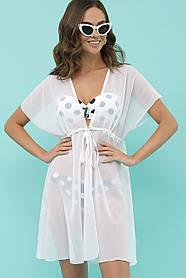 Симпатичная пляжная туника белого цвета из быстросохнущей ткани  оверсайз