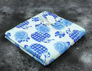 Электропростынь двухспальная Lux Electric Blanket Blue Flowers 140x155 см, фото 2