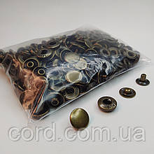 Кнопка 15 мм металлическая (Альфа). Упаковка(100 шт.) антик ( латунь)