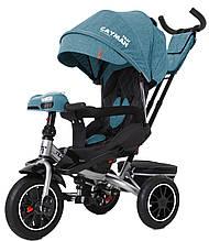 Детский трехколесный велосипед Tilly Cayman (бирюзовый цвет) с пультом и усиленной рамой