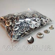 Кнопка 15 мм металлическая (Альфа). Упаковка(100шт.) никель ( серебро).