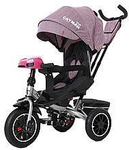 Детский трехколесный велосипед Tilly Cayman (фиолетовый лен) с пультом и усиленной рамой