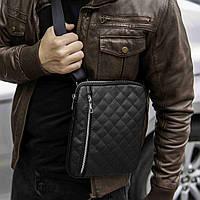 Стильная мужская сумка-мессенджер (барсетка) через плечо из эко-кожи, Cell черная (тонкая)