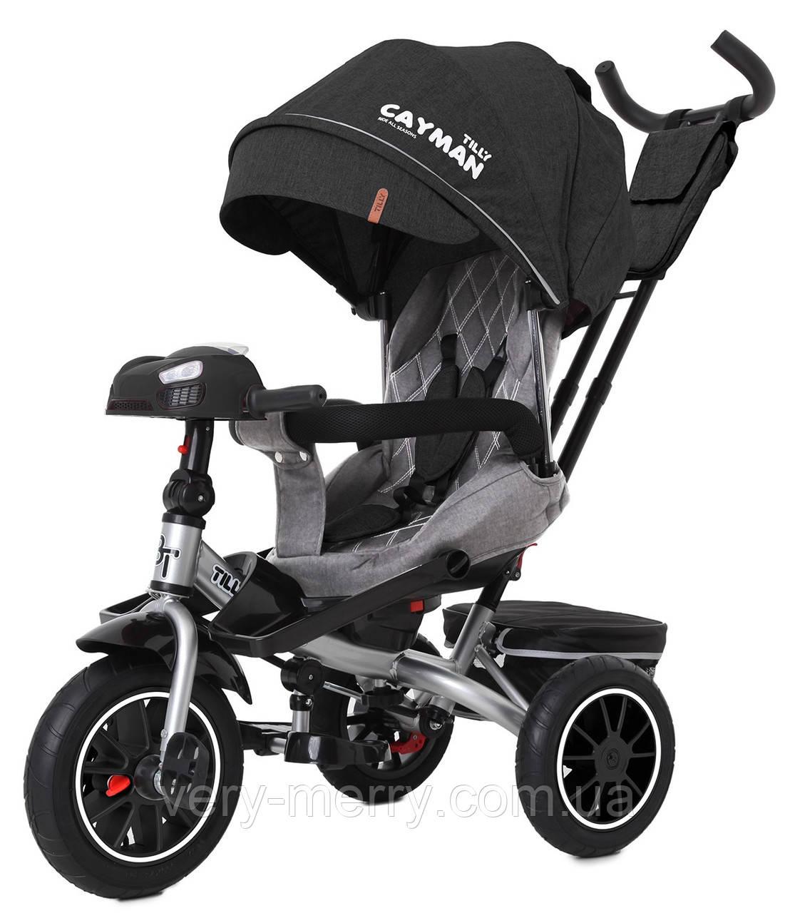 Детский трехколесный велосипед Tilly Cayman (темно-серый цвет) с пультом и усиленной рамой