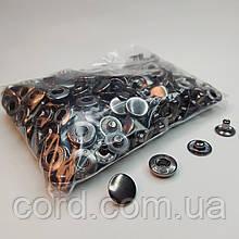 Кнопка 15 мм металлическая (Альфа). Упаковка(100шт.) блек никель ( тёмное серебро).