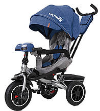Детский трехколесный велосипед Tilly Cayman (синий цвет) с пультом и усиленной рамой