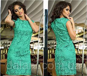 Коктейльное бирюзовое кружевное платье мини