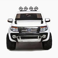 Детский двухместный электромобиль Ford Ranger KD105 белый, колеса EVA, амортизаторы, радио, пульт Bluetooth
