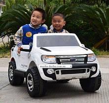 Детский двухместный электромобиль Ford Ranger KD105 белый, колеса EVA, амортизаторы, радио, пульт Bluetooth, фото 2