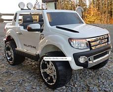 Детский двухместный электромобиль Ford Ranger KD105 белый, колеса EVA, амортизаторы, радио, пульт Bluetooth, фото 3