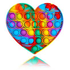 Большой POP IT Heart радуга, 27 кнопок, разные формы, детская интерактивная игрушка, антистресс, SPA силикон