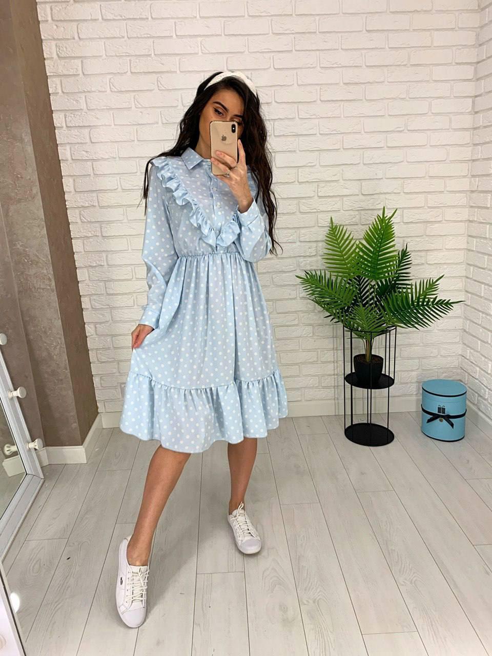 Жіночне плаття з довгим рукавом на манжеті, з рюшами на грудях, 00023 (Блакитний), Розмір 46 (L)