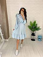 Жіночне плаття з довгим рукавом на манжеті, з рюшами на грудях, 00023 (Блакитний), Розмір 46 (L), фото 2