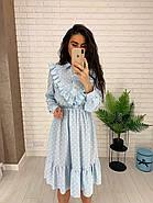 Жіночне плаття з довгим рукавом на манжеті, з рюшами на грудях, 00023 (Блакитний), Розмір 46 (L), фото 3