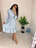 Жіночне плаття з довгим рукавом на манжеті, з рюшами на грудях, 00023 (Блакитний), Розмір 46 (L), фото 4