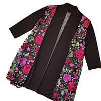 Шикарная черная кружевная накидка кардиган тонкий с яркими цветами