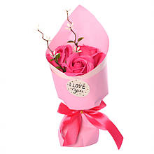 Аксессуары для праздника MK 3317 букет из 3х роз (MK 3317(Pink))