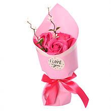 Аксесуари для свята MK 3317 букет з 3х троянд (MK 3317(Pink))