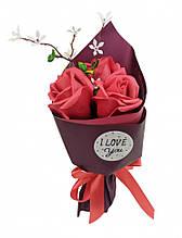 Аксесуари для свята MK 3317 букет з 3х троянд (MK 3317(Red))