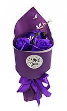 Аксессуары для праздника MK 3317 букет из 3х роз (MK 3317(Violet))