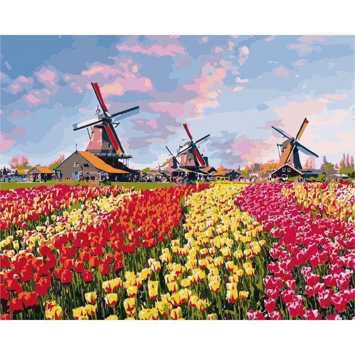 """Картина за номерами Сільський пейзаж """"Барвисті тюльпани Голландії"""" KHO2224, 40*50 см"""