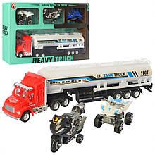 Детский игровой набор трейлер с мотоциклами 99A2-11, 4 транспорта в наборе