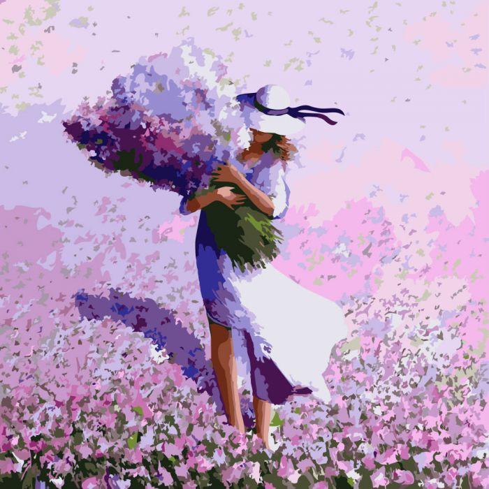 """Картина по номерам. Люди """"Цветочное поле"""" KHO2660, 40*40 см"""