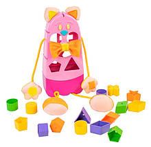 """Игрушка развивающая сортер """"Котик"""" 39290, 9 разноцветных фигурок (Розовый)"""
