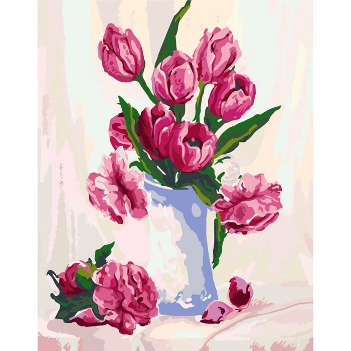 """Картина за номерами. Квіти """"Ніжність у вазі"""" KHO2912, 40х50 см"""