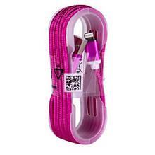Кабель для зарядки Apple YT003 у тканинному оплете ( YT003(Pink))