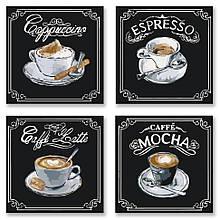 """Набір для розпису по номерах з 4х картин. Поліптих """"Смачну каву"""" KNP001, 18х18 см"""