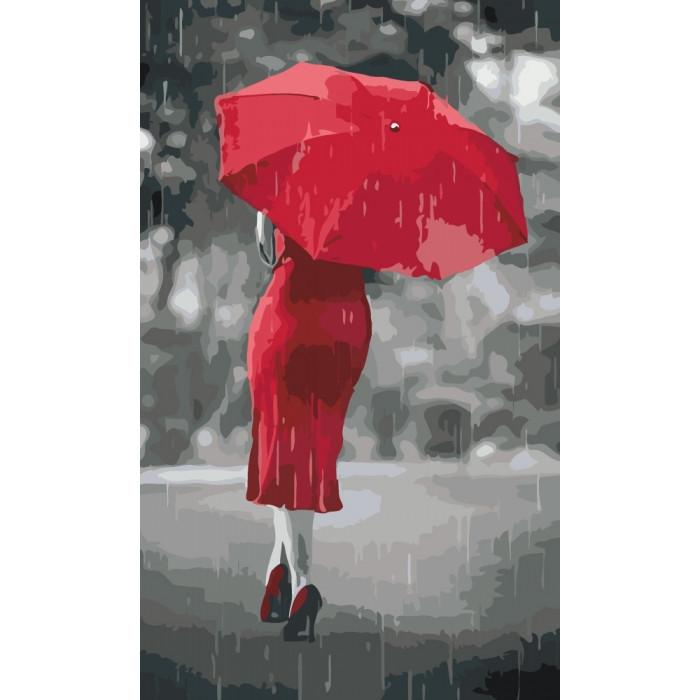 """Картина по номерам. Люди """"Красный зонтик"""" KHO2655, 30х50 см"""