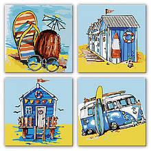 """Набір для розпису по номерах з 4х картин. Поліптих """"Літні пригоди"""" KNP016, 18х18 см"""
