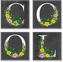 Набор для росписи по номерам из 4х картин. COOL лофт CH115, 18х18 см