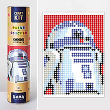 "Картина по номерам стикерами в тубусе ""Робот синий"" (R2D2) , 1200 стикеров 1876, 33х48 см"