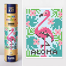 "Картина по номерам стикерами в тубусе ""Фламинго"", 1200 стикеров 1777, 33х48 см"