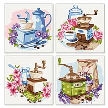 """Набір для розпису по номерах з 4х картин. Поліптих """"Квітковий кави"""" KNP018, 18х18 см"""