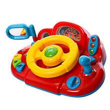 Дитячий іграшковий автотренажер-кермо M 1377 U укр. мовою (Жовто-червоний)