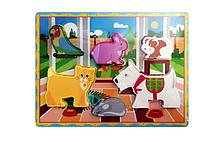Розвиваюча іграшка Рамка-вкладиш MD 2195 дерев'яна (Домашні тварини)