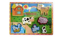 Развивающая игрушка Рамка-вкладыш MD 2195 деревянная (Домашний скот)